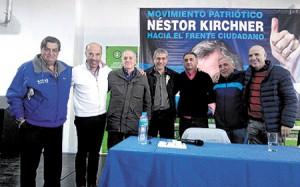 Referentes. Rachid, Laborde, Conde Ramos, Ferraresi, Depetri, Drkos y Di Cola durante el lanzamiento.